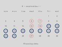 9月の営業のお知らせ - Humming room
