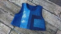 藍接ぎ合わせ リバーシブルベスト - 古布や麻の葉
