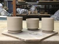 磁土で、薄いカップを作ってみた。 - 皿 皿 碗 碗;週末陶芸
