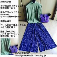 若草色と紺・紫が綺麗な母 - 母のお洒落日記