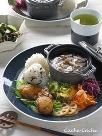休日ランチ♪ 牡蠣の甘辛炒め、きのこと菊芋のスープなどのワンプレート - Cache-Cache+