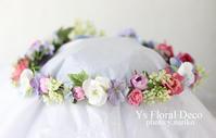 水色のドレスにあわせるミックスカラーの花冠 アニヴェルセル表参道さんへ - Ys Floral Deco Blog