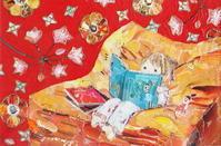 女の子と本 - ちぎり絵日記