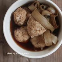 ボリューム満点 鶏団子とごぼうのスープ - ふみえ食堂  - a table to be full of happiness -
