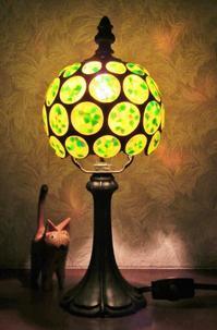 小さな丸いランプ - ルームシューズを作るゥ。。ステンドグラスも作る。