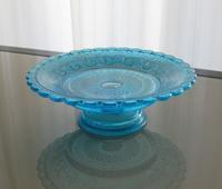 Blue glass plate comport - minca's sweet little things
