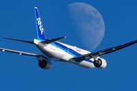 月と青空 - おやじくん乗り物写真