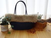 麻ひものバッグにファー - 手作り布小物 m/natuul