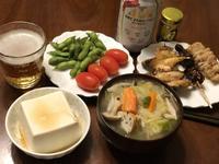 白菜スープと焼き鳥3本とノンアルビールで晩ごはん。 - よく飲むオバチャン☆本日のメニュー