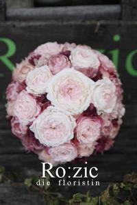 2017.10.4 大輪ローズでガーリー&大人ピンクのブーケとリストレット/プリザーブドフラワー - Ro:zic die  floristin