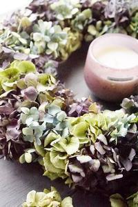 青木園芸さんの紫陽花でドライリース - お花に囲まれて