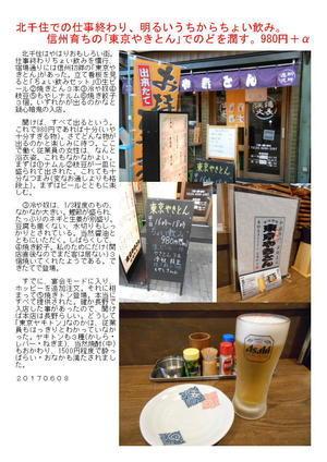 北千住での仕事終わり、明るいうちからちょい飲み。信州育ちの「東京やきとん」でのどを潤す。980円+α