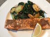 マスタードとブラウンシュガーでグレーズした鮭のロースト&パクチーサラダ - やせっぽちソプラノのキッチン2