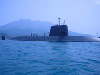 桜島と潜水艦(錦江湾)。 - 青い海と空を追いかけて。