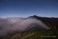 月夜の塩見岳 - moroyanのドタバタ夜景日記