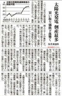 太陽光発電 倒産最多 買い取り価格下落響く / 東京新聞 - 瀬戸の風