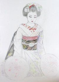 舞妓さん大きさB2 モデル祇園小なみちゃん - 黒川雅子のデッサン  BLOG版