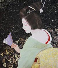 「宵待ち」日本画 10号 岩絵の具 クロマシャイン 箔  モデル 宮川町ふく愛さん - 黒川雅子のデッサン  BLOG版