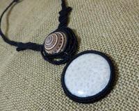 【マクラメ&ヘンプ】#170 フォッシルコーラル×シェルのネックレス - Shop Gramali Rabiya (SGR)