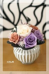ストライプ花器&ミニブーケ* レッスン - Flower letters