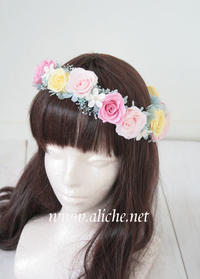花冠セミオーダー ミントグリーンのドレスに合わせたピンクの花冠 - 花冠 ヘッドドレス アリーチェのブログ