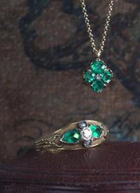 「ヒーリング♡グリーン」33オリジナルネックレス・エメラルド&ローズカットダイヤモンドネックレス - 欧州アンティーク・ジュエリー