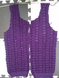 紫色のカーディガン、編みなおしの身頃進捗 - D-E