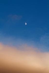 台風一過。オレンジの雲から顔を見せてくれた「半月」 - Air Born Japan 日本の空を、楽しもう!