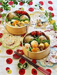 炊き込みごはんおむすび弁当と実家の収穫物と我が家の収穫物♪ - ☆Happy time☆