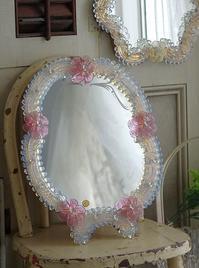 #0178 イタリアアンティークムラーノガラスオパールセントガラスミラー - La voix douce