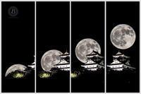 満月と岐阜城 - びっと飴
