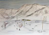 雪の立山(水彩画) - 夏目明美作品集*油絵・水彩画