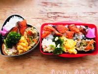 【ふたり弁】紅鮭焼き。かわいいこなちゃん。 - あの日、あの味。