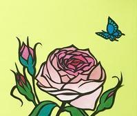 バラと蝶 - おどるねこ