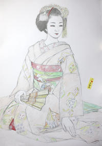 祇園舞妓さんモデル多都葉ちゃん大きさB2 - 黒川雅子のデッサン  BLOG版