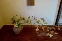 谷穹さんの蹲に紅葉 - g's style day by day ー京都嵐山から、季節を楽しむ日々をお届けしますー