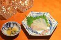 平目のお刺身と煎り酒/豚の生姜焼き/蓮根の甘酢漬け/しじみ汁 - まほろば日記