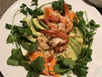 アボカドと柿と海老のソテー&豚フィレ肉のソテーとプルーン - やせっぽちソプラノのキッチン2