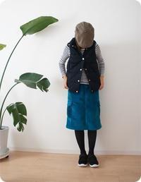 大人用カーゴスカートの着画です。 - 親子お揃いコーデ服omusubi-five(オムスビファイブ)