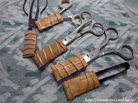 赤松の根かがり糸切り鋏用キャップ乾燥中 - ロシアから白樺細工