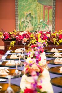 秋の装花 ホテル雅叙園東京 鷲の間様へ 青竹の器に華やかに - 一会 ウエディングの花