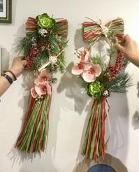 今月のアレンジレッスンはしめ縄飾り♫ - coco diary 山口県 お花と絵とテーブルコーディネートレッスン