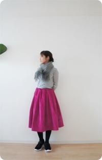 コーデュロイのピンクのスカートを作りました - 親子お揃いコーデ服omusubi-five(オムスビファイブ)