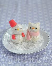 クリスマスの雪だるま猫だるま練り切りHomemade Snowmen Nerikiri - お茶の時間にしましょうか-キャロ&ローラのちいさなまいにち- Caroline & Laura's tea break