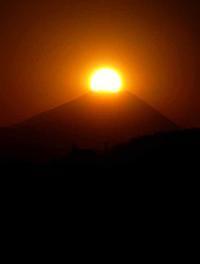 富士山頂に沈む夕日(ダイヤモンド富士) - 萩原義弘のすかぶら写真日記