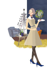 みずほフィナンシャルグループほなみ 冬号 No32 - 女性誌、web、広告  美しい女性と花と食のイラストレーション まゆみん