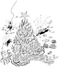 Christmas tree in the sea. - soramame mitten