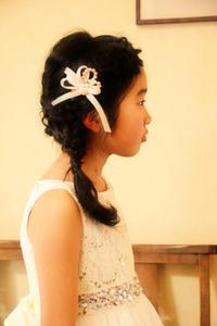 ピアノ発表会髪型ヘアアレンジドレス子供さくら市美容室エスポワール編み込み - 美容室エスポワール