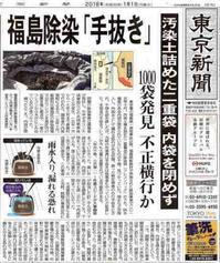 福島除染「手抜き」汚染土詰めた二重袋内袋を閉めず1000袋発見不正横行か/東京新聞 - 瀬戸の風