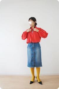 ブラウスの着画です。 - 親子お揃いコーデ服omusubi-five(オムスビファイブ)